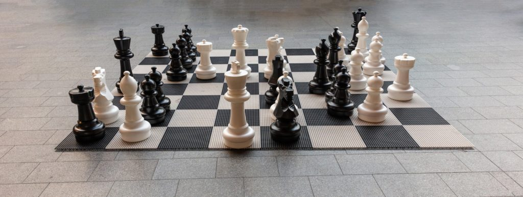 Giant chess board in Rotterdam, banner, background
